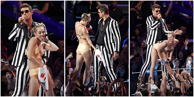 Miley Cyrus e Robin Thicke  no show do VMA (Foto: Reuters)