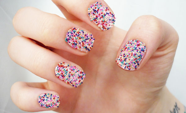 Colorful-mix-Caviar-nail-art